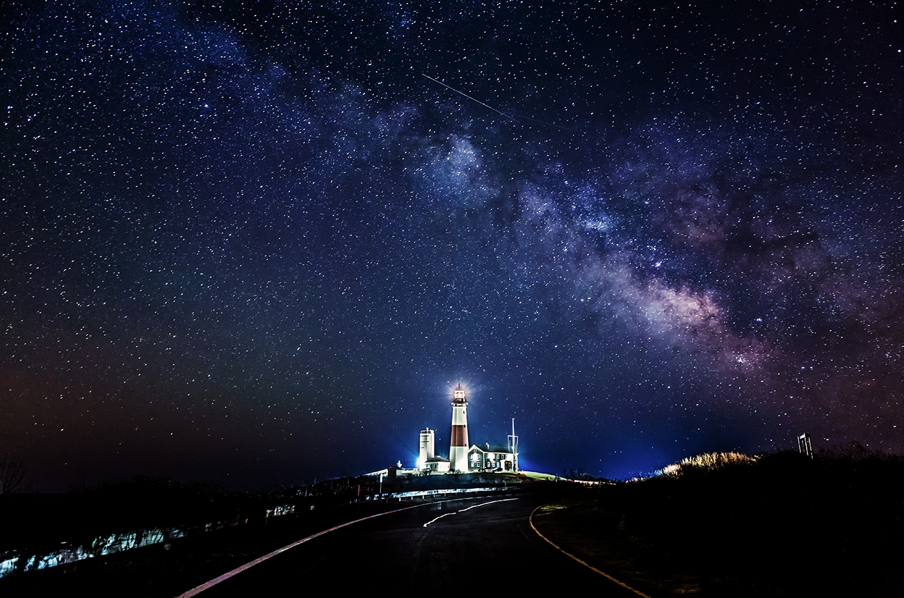 Milky Way And Shooting Star Over Montauk Lighthouse