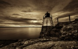 Castle Hill Lighthouse Sepia Sunset