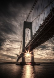 Sun setting behind the Verrazano